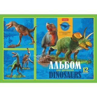 Альбом для рисования 12л А4ф на скобе Эра динозавров, в ассорт.