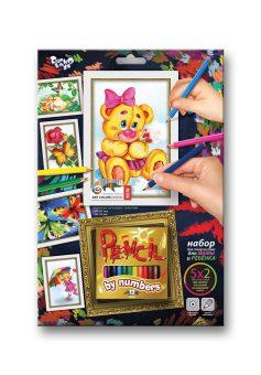 Набор для тв-ва раскраска карандашами по номерам Медвежонок