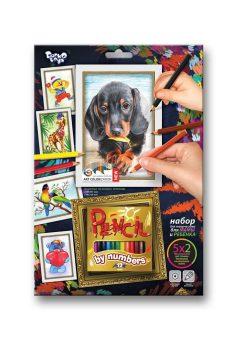 Набор для тв-ва раскраска карандашами по номерам Собака