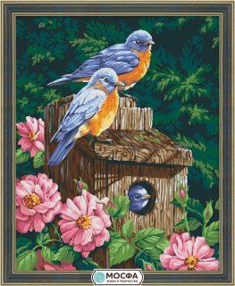 Роспись по холсту Домик для птиц, 40*50 см