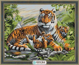 Роспись по холсту Тигриная семья, 40*50 см