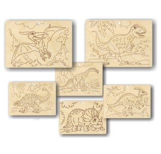 Набор для выжигания Динозавры 3 картинки в ассорт.