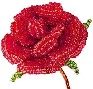 Набор для тв-ва Цветы из бисера Алая роза