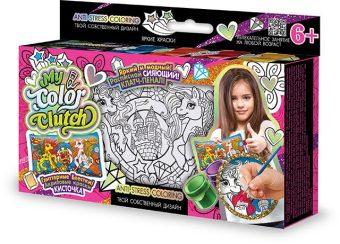 Набор креативного тв-ва My Color Clutch клатч-пенал Пони -раскраска красками и блестками