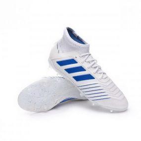Детские футбольные бутсы adidas Predator 19.1 FG белые с синим