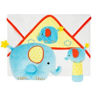 """Подарочный набор """"Добрый слоник"""": полотенце, погремушка и подушка"""