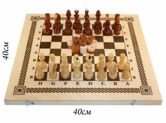 Игра Два в одном (шашки, шахматы)  дерев. 400*200*36 в ассорт.