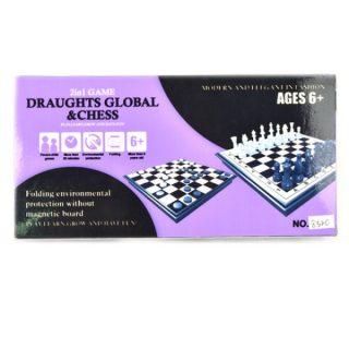 Ни 2в1 Шахматы, шашки, размер игр.поля 25*25см, кор.