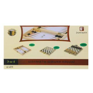 НИ 3в1 Шахматы, шашки, нарды, поле 24х24см