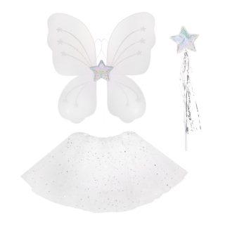 "Костюм ""Снежинка"", крылья, палочка,  юбка, белый"