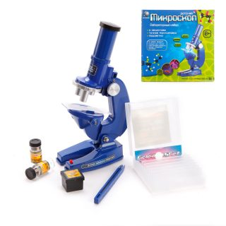 Микроскоп детский в наборе, 3 объектива, пинцет, свет, 2*AA эл.пит.в компл.не вх., кор.