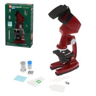 Микроскоп детский, 90х увеличение, 3 объектива, аксессуары, эл.пит.AA*2 шт. не вх.в комплект, кор