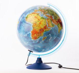 Глобус Земли физико-политический  с подсветкой, D-250 мм