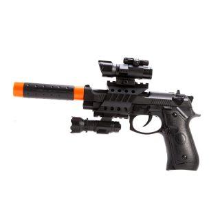 Пистолет эл., съемный глушитель свет, звук, вибрация, эл.пит.АА*2шт., AG10*3шт. не вх.в комплект, пакет