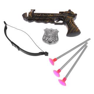 Арбалет, стрелы с присосками 3шт., значок, пакет