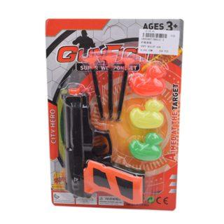 Игр.набор Стрелок, в комплекте пистолет, стрелы с присосками 3шт., мишень 3шт.