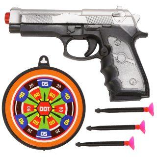 Пистолет, стрелы с присосками 3шт., мишень