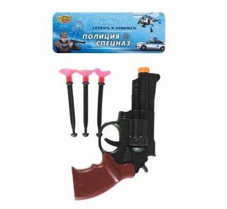Револьвер, стрелы с присосками 3шт., пакет