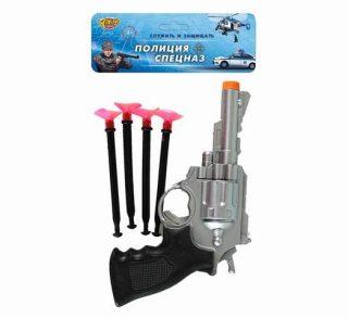 Револьвер, стрелы с присосками 4шт., пакет