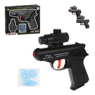 Пистолет механический, в комплекте: гелевые пули пакет 1шт., коробка