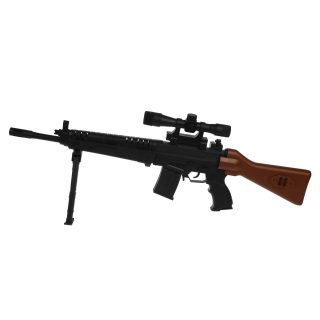 Автомат механический с прицелом, в комплекте: пули 10шт., эл.пит. LR44/AG13*3шт., пакет