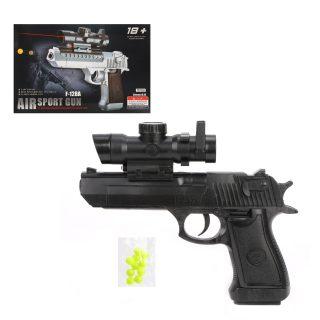 Пистолет мех., прицел, глушитель, 220мм., эл.пит. AG10*3шт. вх.в комплект, кор.
