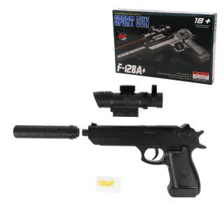 Пистолет мех., прицел, глушитель, 220мм., эл.пит.AG10*3шт. вх.в комплект, кор.