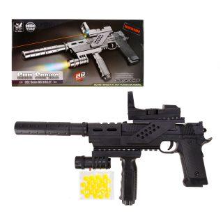 Пистолет мех., прицел, фонарь, глушитель, 395мм., эл.пит. AG10*1шт., AG13*3шт.вх.в комплект, кор.