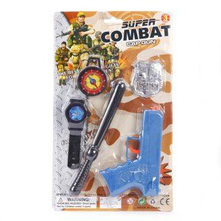 Игр.набор Военная полиция, пистолет, значок, часы, компас, дубинка