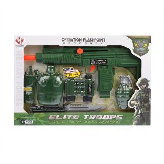 Игр.набор Военный, автомат трещ., бинокль, рация, нож, фляжка, граната, коробка