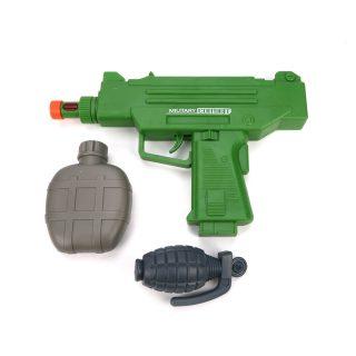 Игр.набор Военный, автомат эл., свет, звук, вибрация, в комплекте: фляжка, граната, эл.пит.AА*2шт.не вх.в комплект, пакет
