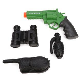 Игр.набор Военный, пистолет эл., звук, в комплекте: (рация, бинокль, граната)-муляж, эл.пит.AG13*3шт.не вх.в комплект, пакет