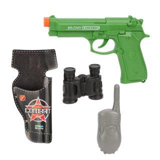 Игр.набор Военный, пистолет эл., звук, в комплекте: (рация, бинокль)-муляж, кобура, эл.пит.AG13*3шт.не вх.в комплект, пакет