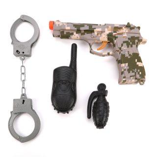 Игр.набор Военный, пистолет эл., звук, в комплекте: рация, граната, наручники, эл.пит.AG13*3шт.не вх.в комплект, пакет