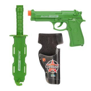 Игр.набор Военный, пистолет эл., звук, кобура, кинжал, чехол, эл.пит.AG13*3шт.не вх.в комплект, пакет