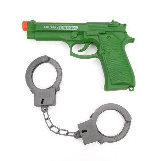 Игр.набор Военный, пистолет эл., звук, наручники, эл.пит.AG13*3шт.не вх.в комплект, пакет