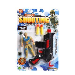 Игр.набор Военный, пистолет, м/пуль 2шт., фигурка, блистер