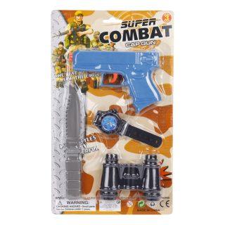 Игр.набор Военный, пистолет, ножик, бинокль, часы