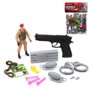 Игр.набор Военный, пистолет, пули с присосками 3шт., граната 2шт., наручники, фигурка 1шт., аксессуары, пакет