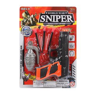 Игр.набор Военный, пистолет, стрелы с присосками 3шт., граната, блистер