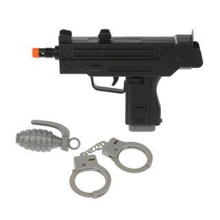 Игр.набор Полиция, автомат эл., свет, звук, наручники, граната, эл.пит.AG10*3шт.вх.в комплекте, пакет
