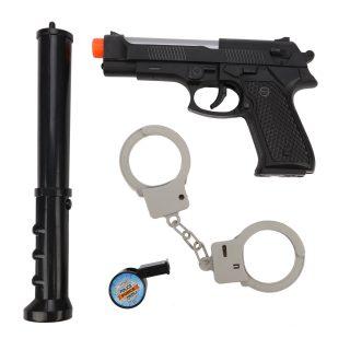 Игр.набор Полиция, автомат эл., электрошокер эл., свет, звук, наручники, эл.пит.AG10*6шт.вх.в комплекте, пакет