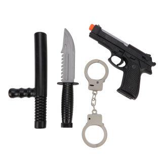 Игр.набор Полиция, пистолет эл., свет, звук, наручники, нож, дубинка, эл.пит.AG10*3шт.вх.в комплекте, пакет
