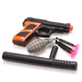 Игр.набор Полиция, пистолет, стрелы с присосками 3шт., дубинка, граната, пакет