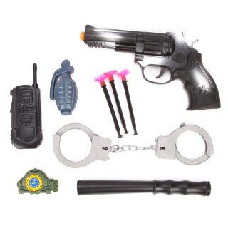 Игр.набор Полиция, пистолет, стрелы с присосками 3шт., наручники, ключи, дубинка, рация, граната, часы, пакет