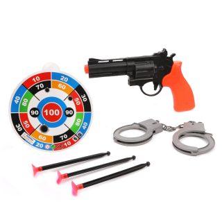 Игр.набор Полиция, пистолет, стрелы с присосками 3шт., наручники, мишень для стрельбы, пакет