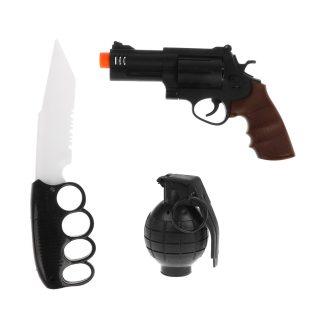Игр.набор Полиция, револьвер эл., граната эл., кинжал эл., свет, звук, эл.пит.AG10*6шт.вх.в комплекте, пакет