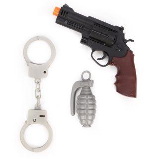 Игр.набор Полиция, револьвер эл., свет, звук, наручники, граната, эл.пит.AG10*3шт.вх.в комплекте, пакет