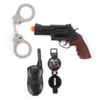 Игр.набор Полиция, револьвер эл., свет, звук, наручники, рация, компас, эл.пит.AG10*3шт.вх.в комплекте, пакет