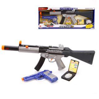 Игр.набор эл., Полиция, автомат, пистолет, значок, свет, звук, эл.пит.AG13*2шт., AA*3шт.не вх.в комплект